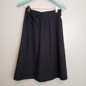90s Vintage Black True Wrap Skirt sz small